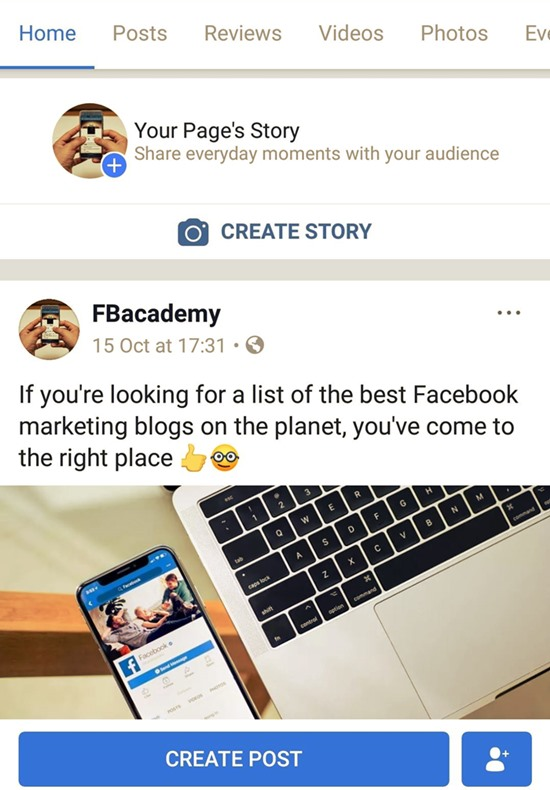 Facebook publish stories