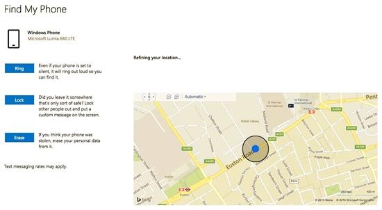 Phone locate, lock, ring, or erase a lost Windows phone