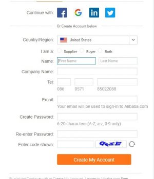 Sign up for Alibaba