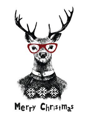 Greeting card: Christmas deer