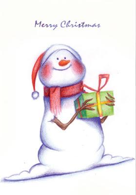 Greeting card: Christmas snowman
