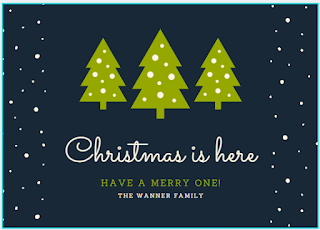 Greeting card: snowy fir trees