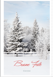 Greeting card: Christmas snow landscape